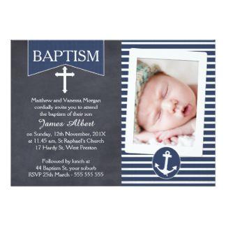 Boys Nautical Anchor Baptism Invitation