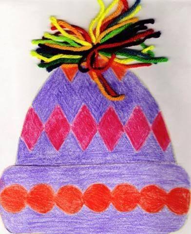 graphisme sur bonnet Travailler les couleurs complémentaires ou analogues Faire un vrai pompon en haut du bonnet ?