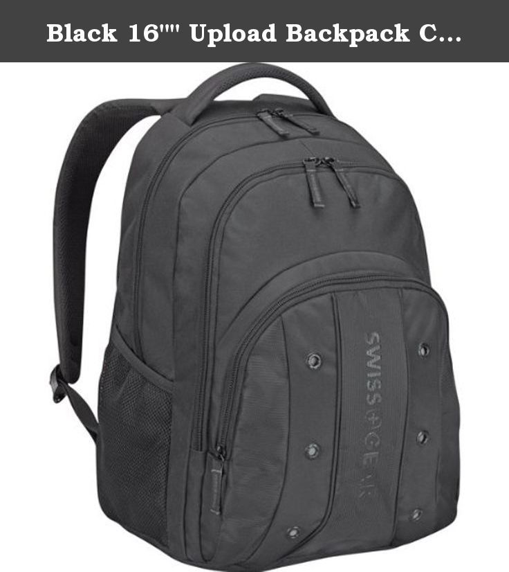 "Black 16"""" Upload Backpack Camping,Hiking,Travel. SWISSGEAR UPLOAD BLACKPACKBLACK FITS MOST 16"""" LAPT Padded computer compartment for up to a 16"""" laptop Essentials organizer Air-flow back padding keeps wearer cool Comfort-fit shoulder straps Side mesh pocket holds a water bottle or small umbrella ."