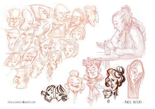 Pencil sketches  ChiaraLamieri Illustrator   chiara.lamieri@gmail.com http://chiaralamieri.tumblr.com/ https://www.instagram.com/chiara_lamieri