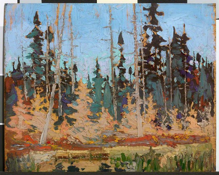 Tom Thomson, Spruce and Tamarack, Fall 1916 Oil on Wood 21.1 x 26.3 cm