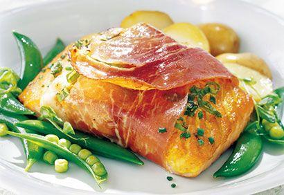 Pavés de saumon enrobés de prosciutto
