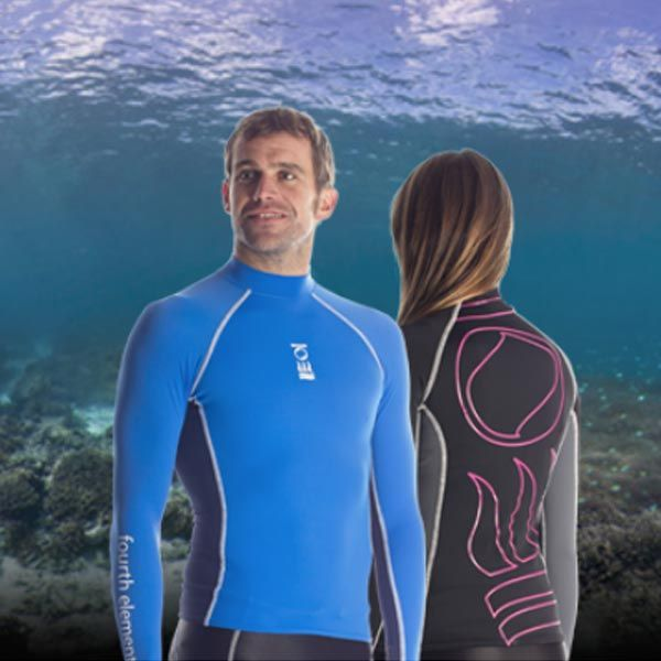 Desi never leaves his Hydroskin rash vests/guards from Fourth Element behind on a dive trip