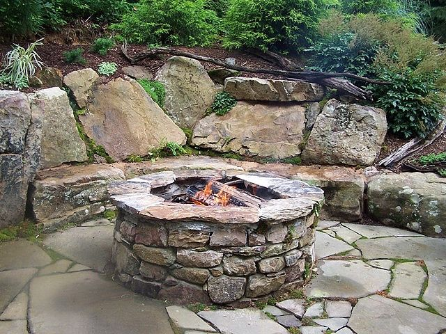 The Completed Stone Fire Pit Project: 25+ Best Ideas About Rustic Fire Pits On Pinterest
