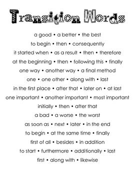 This is a poster of commonly used transition words for writing.  ...