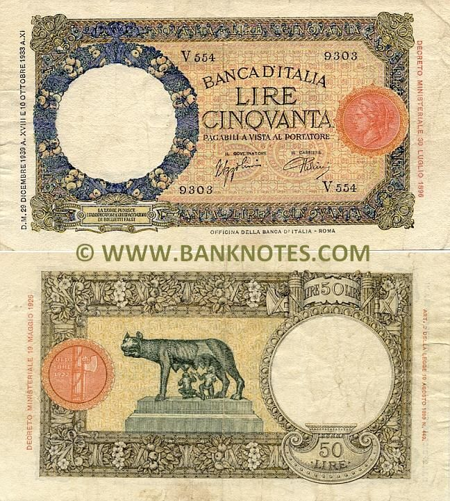 Italy 50 Lire 1933-1940 Front: Wreath of fruits around watermark area; Obverse bank seal - head of Italia in profile; Coloured Greek frets; Stylised flowers; Geometric designs. Back: Capitoline she-wolf suckles Romulus, the founder of Rome, and Remus. A circular chiaroscuro cornice, intaglioed with ovolos, encircles the watermark medallion; the outer cornice, brown chiaroscuro on a yellow background and encircled by a Greek fret.