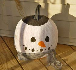 Snowman...clever transition into winter :)  This is for all my friends who insist on leaving their pumpkin on their front porch at Christmas! ;)
