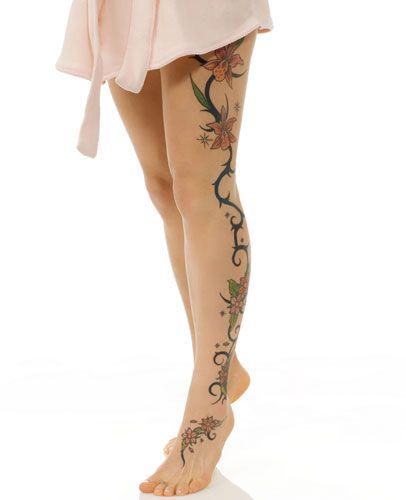 Linda Tatuagem de Flores Coloridas na Perna Inteira