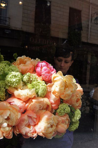 Beautiful Peonies in a Paris shop window