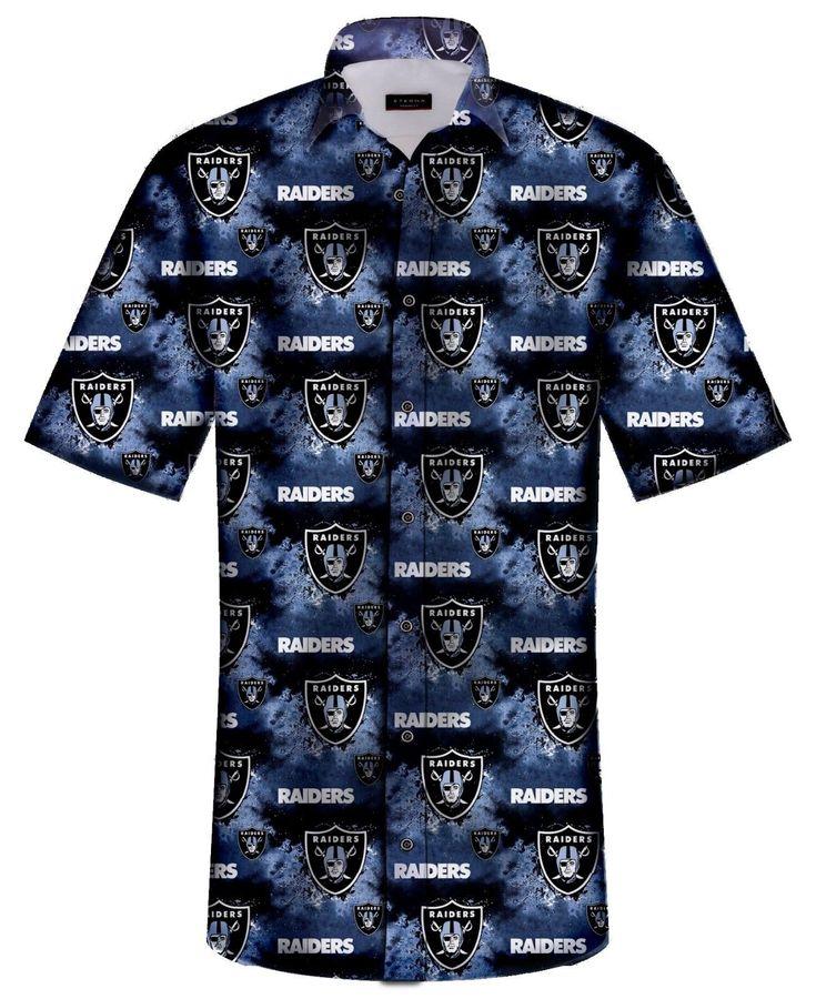 Nfl Oakland Raiders Mens Hawaiian Design Casual Shirt By