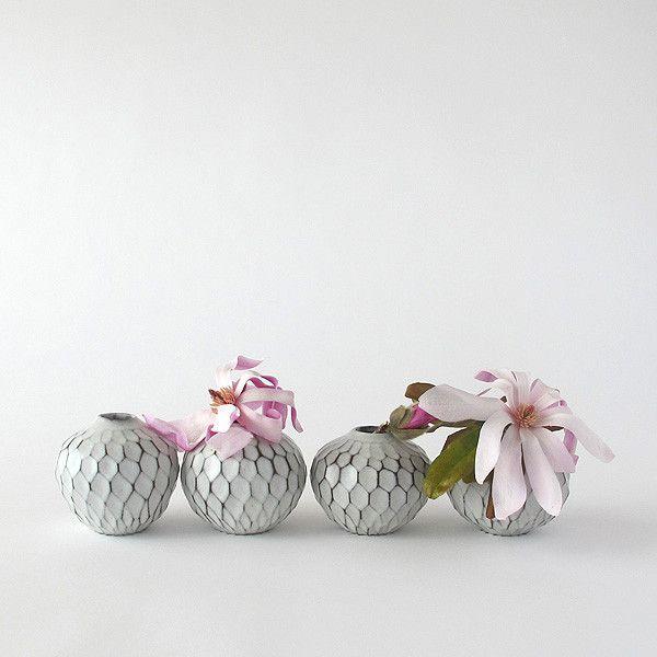 faceted ceramic bud vase | white and black