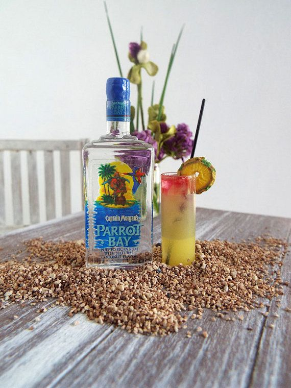 RESERVED Miniature Parrot Bay Rum Bottle & 2 by OneSixthSense