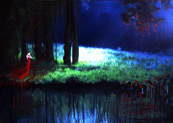 ".Scarlet Dreams.  23 X 36""  acrylic on canvas"
