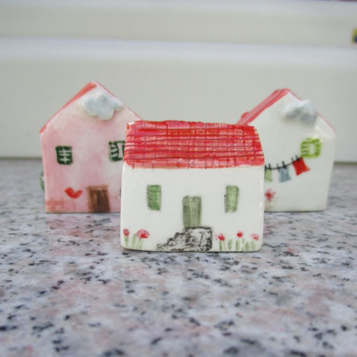 Little Ceramic House,Little Clay House,Cute Small House,White House,Tiny House,Miniature House,Terrarium House,Small details,Red Roof by TatjanaCeramics on Etsy