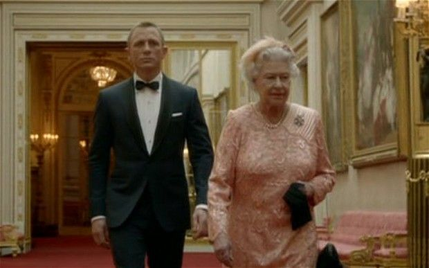 James Bond escorts the Queen to the helicopter as part of the Olympic Games Opening Ceremony.