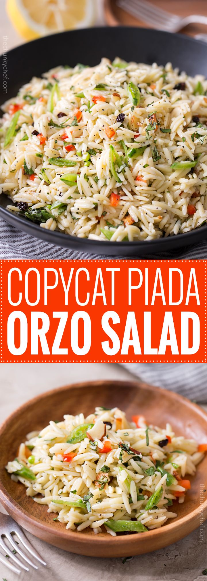Copycat Piada Orzo Salad | This orzo salad is a copycat of the one sold at Piada Italian Street Food... it's crunchy, a little sweet, a little savory, and always a hit at parties! | http://thechunkychef.com (Paleo Pasta Salad)