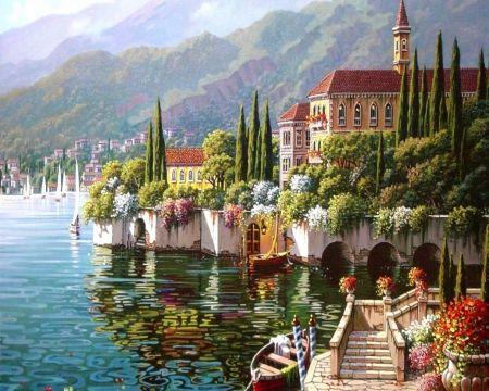 Beautiful Scenery - beautiful, house, lake, river, scenery