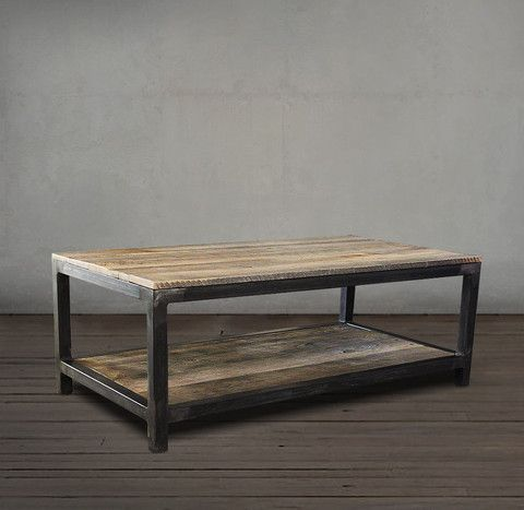 Reclaimed Wood and Metal Coffee Table Two Tier – C…