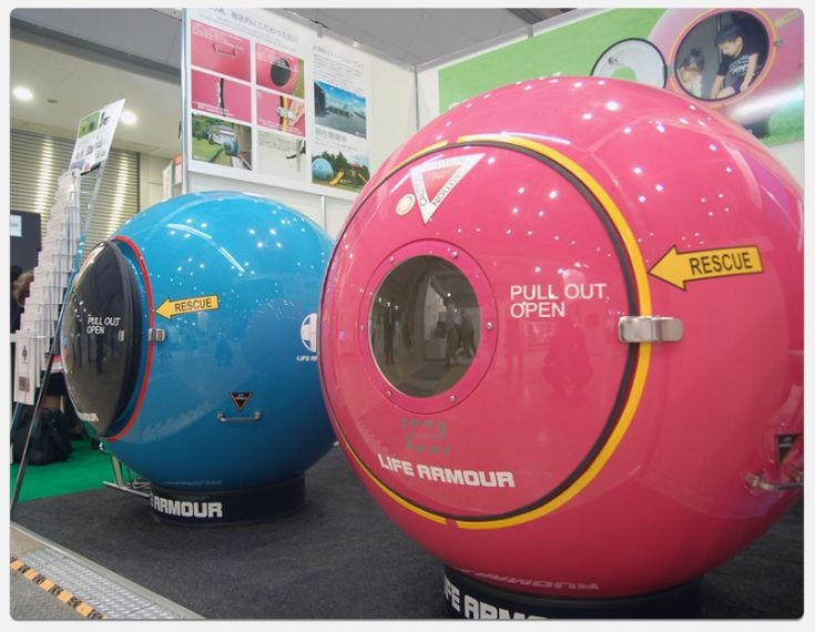 Disaster Pods|  crushproof, floating ball | can withstand up to 9.3 tons of compressive pressure | holds four people inside a 1.2m diameter sphere