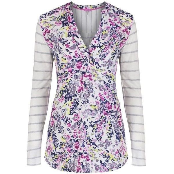 Women's Joules Beatrice Jersey Top (130 BRL) ❤ liked on Polyvore featuring tops, floral print tops, v-neck tops, jersey top, joules tops and v neck jersey