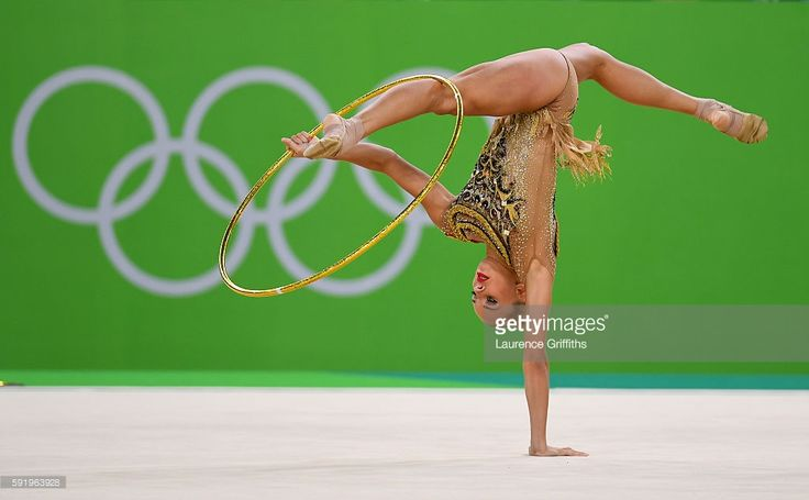Yana Kudryavtseva of Russia performs during the Rhythmic Gymnastics Individual All-Around on August 20, 2016 at Rio Olympic Arena in Rio de Janeiro, Brazil.