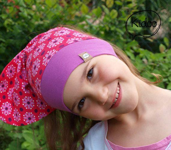 Girl headscarf toddler bandana Dot Flower Pink - Organic Cotton