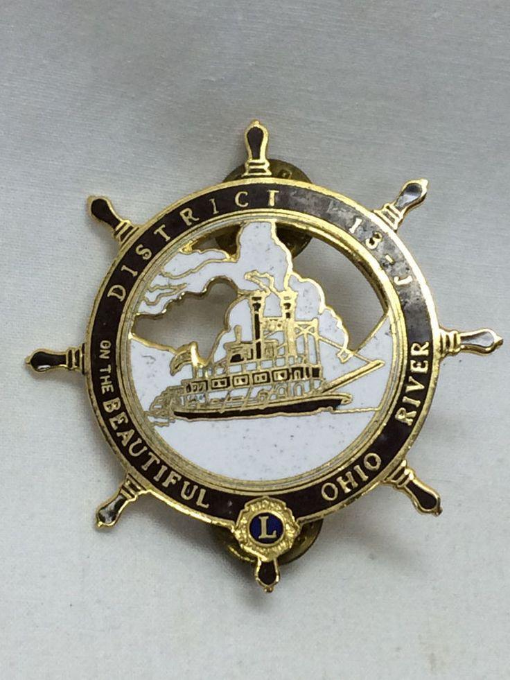 "Vintage Lions Club Pin District 13-J Ohio River 2"" X 2"" Boat's Wheel Helm"