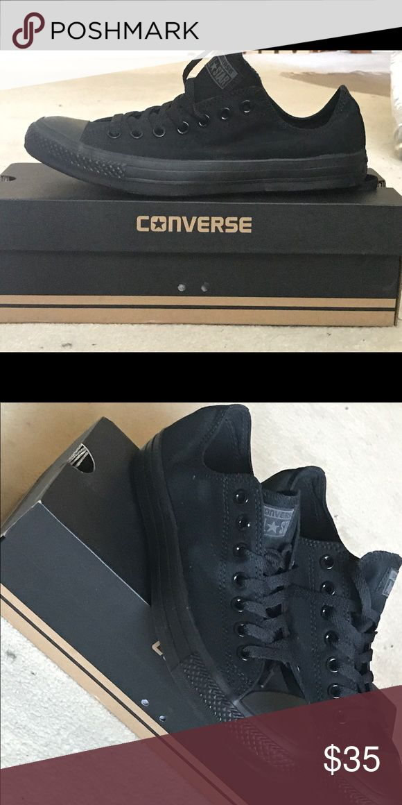 Converse All Star Chuck Taylor Black Size 9 Selling a brand new All black low top converse chuck taylor. They have never been worn. The converse chuck Taylor runs about a size bigger, so order accordingly. Converse Shoes Sneakers