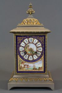 """A mid 19th Century French silvered brass mantel clock, the blue ground Roman painted dial decorated a coastal landscape with  figures in the foreground and flanked by similar panels to sides,  set 8 day cylinder movement striking bell 12""""h x 6.5""""w x 4.25""""d SOLD FOR £350"""