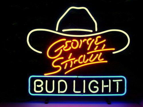 "GEORGE STRATT BUD LIGHT NEON SIGN DISPLAY STORE BEER BAR REAL NOEN17""x14"" B211"