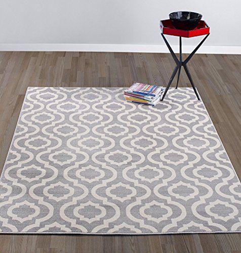 """Diagona Designs Contemporary Moroccan Trellis Design Area Rug 7'10"""" W x 9'10"""" L Grey/Ivory"""