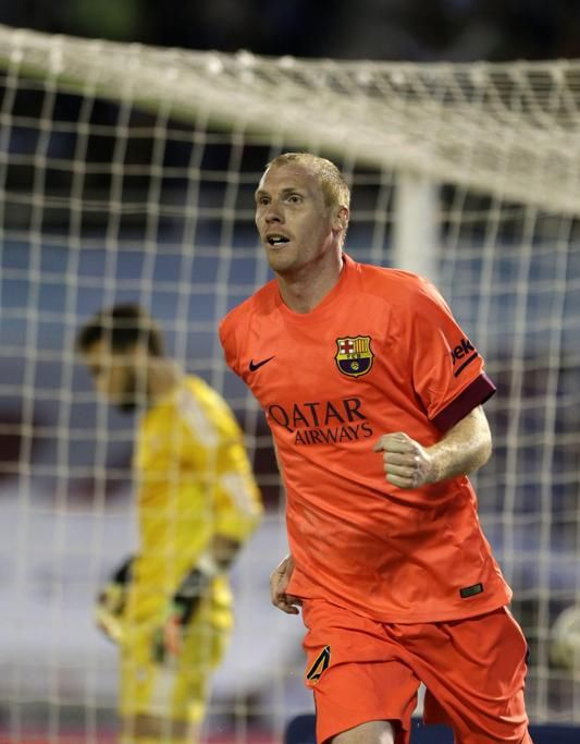 Mathieu celebra su gol de cabeza contra el Celta.