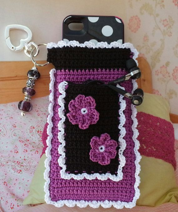PATTERN for Crochet Ruffled iPhone or Smart Phone Case with Pocket for Headphones on Etsy, $3.99