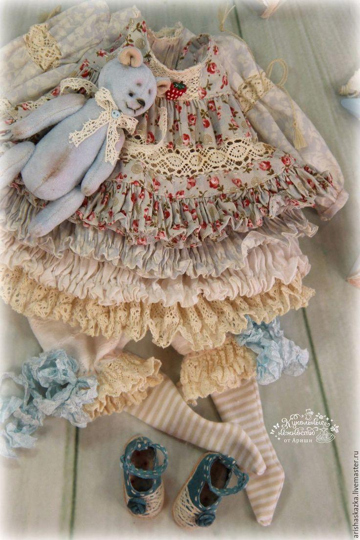 """Купить """"Танцующие кружева """" комплект для куклы шебби шик - платье для куклы, обувь для куклы"""