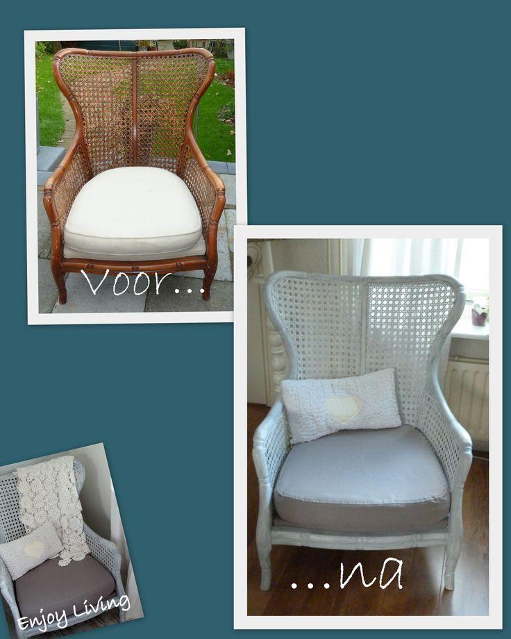 Royale stoel, likje verf erover, doorschuren en nieuwe bekleding op het zitkussen. ENJOY LIVING - Landelijk & Brocante
