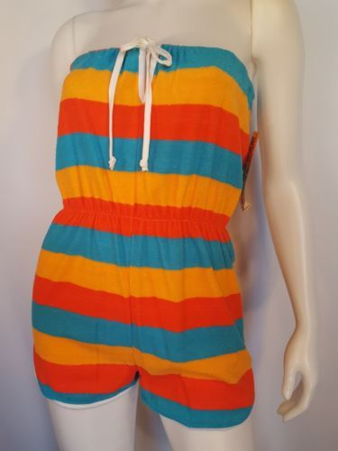 1970s-Bold-Striped-Strapless-Terrycloth-Romper-M