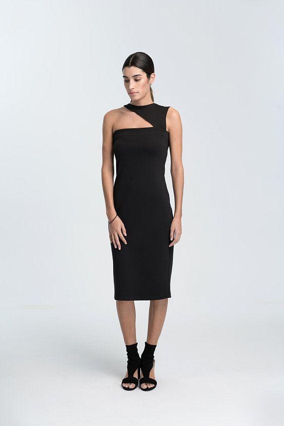23+ Black one shoulder asymmetric neck midi dress ideas