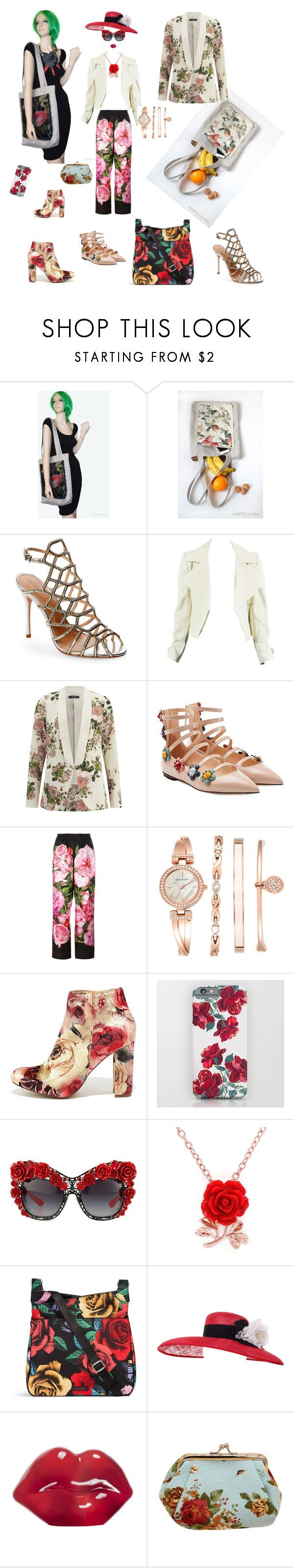 """Flowers in the fashion"" by recznedzielo-pl-jirsa-felt on Polyvore featuring moda, Schutz, VILA, Fendi, Dolce&Gabbana, Anne Klein, Liliana, Vera Bradley, Talitha i Kosta Boda"