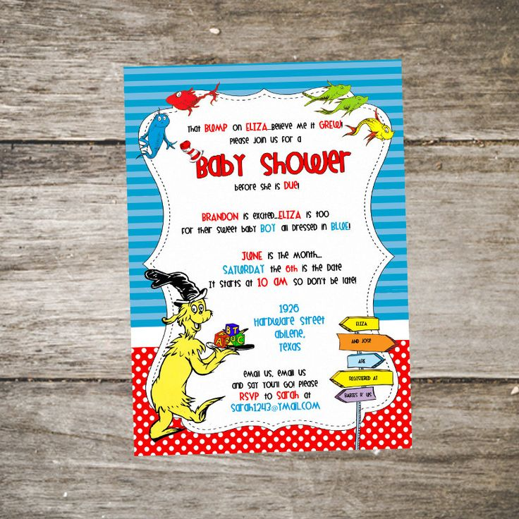Dr. Seuss Baby Shower Invitation U2022 Sam I Am Baby Shower Invitation U2022 One  Fish