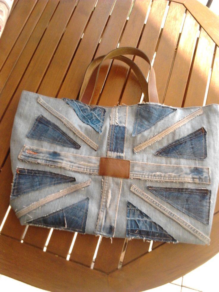 Tote bag en jeans - Union Jack et anses en cuir