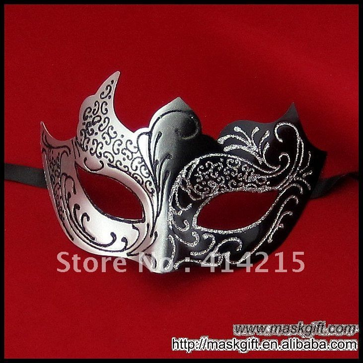 7 inch unieke groothandel mooi ontwerp zwart en zilver venetiaans masker, carnaval masker maskerade