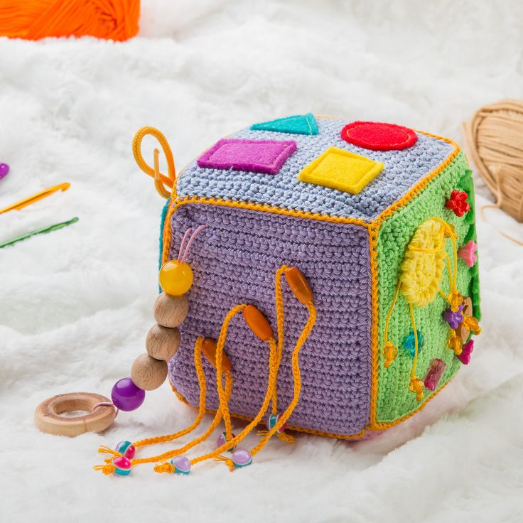 Crochet educational toy, Fine motor skills сube, Game for little fingers…