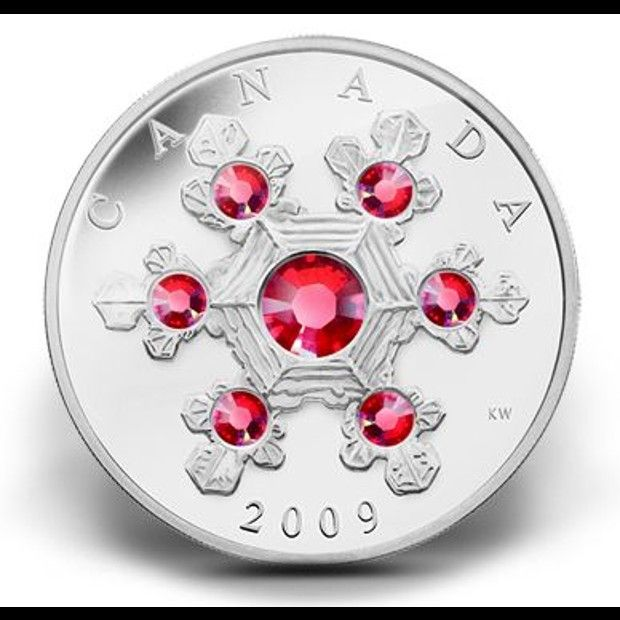 Coolest Canadian coins | Fine Silver Crystal Snowflake. A coin doesn't have to be gold to be considered a thing of beauty. This snowflake carved into silver and adorned with Swarovski crystals is as delicate and alluring as they come. (Source: The Royal Canadian Mint)