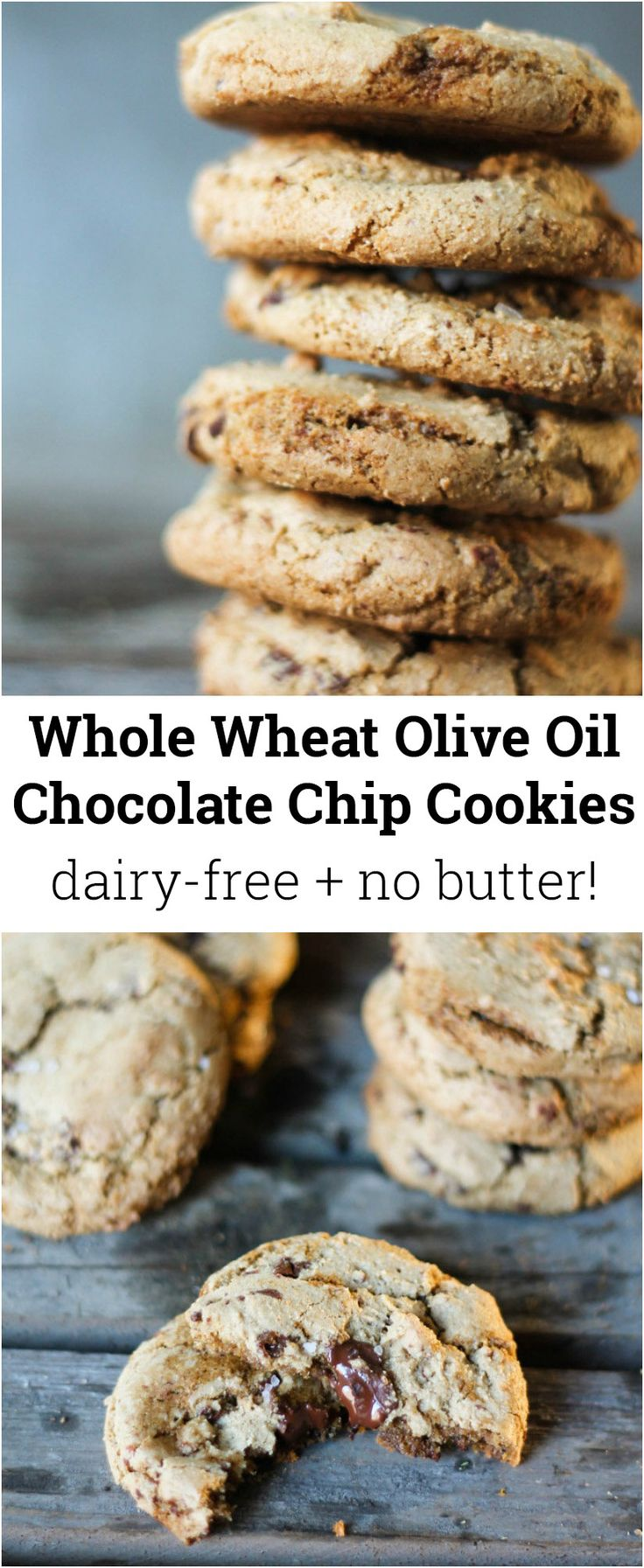 Delicious chocolate chip cookies made with whole wheat flour and olive oil instead of butter!
