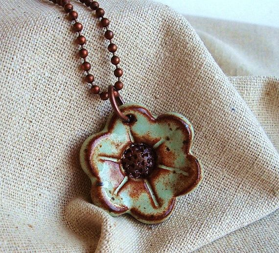Ceramic Flower Necklace stoneware clay in Pistachio by Artgirl56