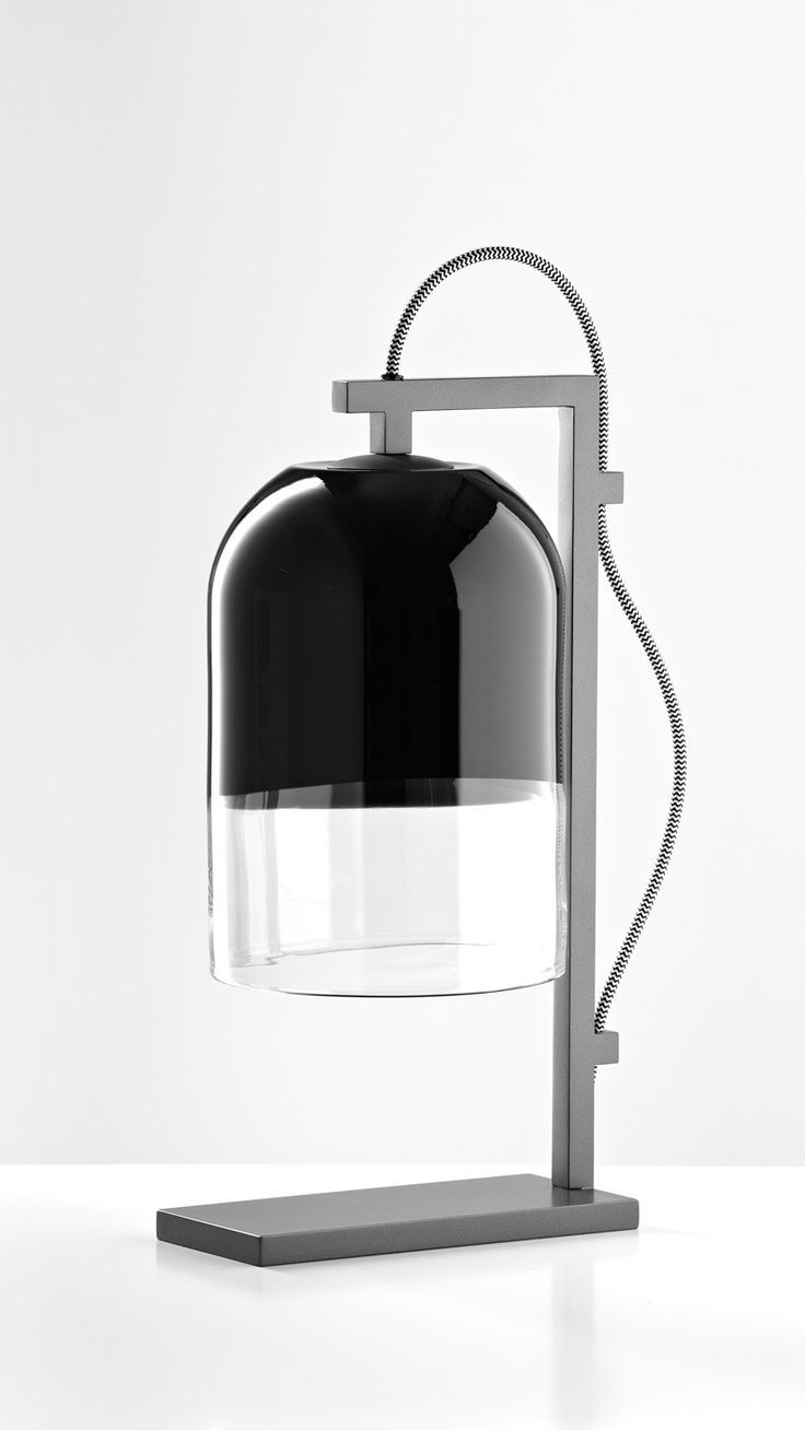 Articolo Moni table lamp with Black and Clear shade with Black stand and Black and White flex #articololighting #lightingdesign #bespokelighting #interiordesign