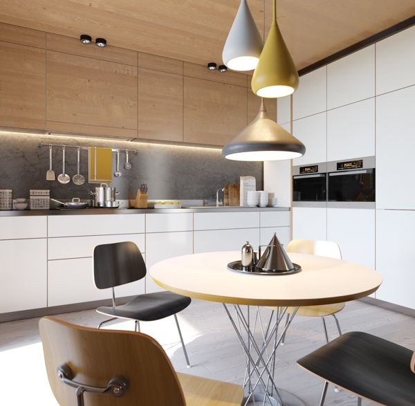 A cluster of lights brings all the hues of this kitchen together.