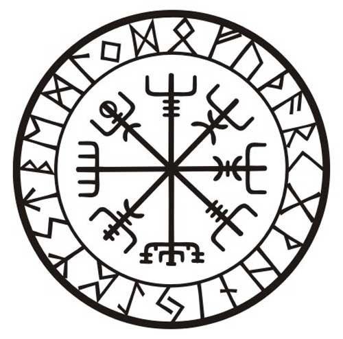 Cette rune est connue comme vegvisir, islandais pour « balise » et parfois appelée la boussole de Viking. Le but de ce charme magique est d'aider le guide son chemin sans se perdre. C'est entouré de tous les 24 caractères de l'ancien Futhark. Ce sticker mesure 5(12,7 cm) de diamètre et est coupé (pas de fond en laissant) un signe professionnel noir vinyle de qualité avec un six ans garanti pour une utilisation à l'extérieur sur une surface verticale. Lorsqu'il est appliqué correctement, ce…
