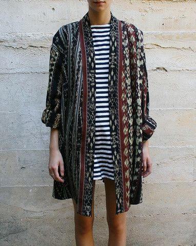 tribal-inspired vertical stripe grandfather cardigan over black and white horizontal stripe shift (rough and loose vs modern clean)
