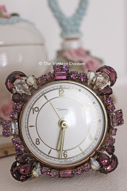 Vintage rhinestone clock